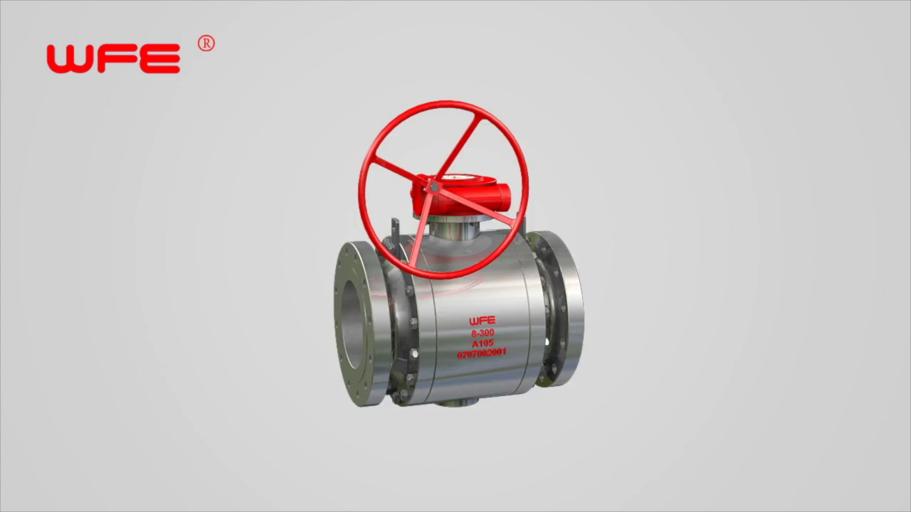 WFE 3 PC Forged Steel Trunnion Mounted Ball Valves 3D Demonstration