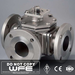 API 304 Flanged 4 Way Ball Valve