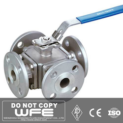API Stainless Steel Flanged 4 Way Ball Valve